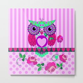Romantic Valentine's day Owl with Roses and Patterns Metal Print