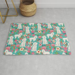 Cockapoo floral dog breed dog pattern pet friendly cocker spaniel poodle Rug