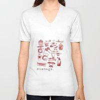 kitchen V-neck T-shirts featuring kitchen vintage by flying bathtub