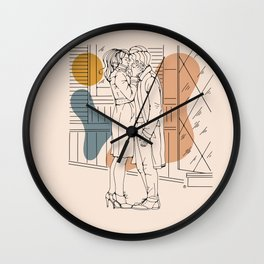 Kissing on the street Wall Clock