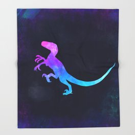 VELOCIRAPTOR IN SPACE // Dinosaur Graphic Art // Watercolor Canvas Painting // Modern Minimal Cute Throw Blanket