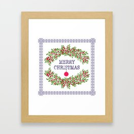 Merry christmas and happy new year white greeting card wreath light white background Framed Art Print