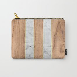 Striped Wood Grain Design - White Marble #497 Carry-All Pouch