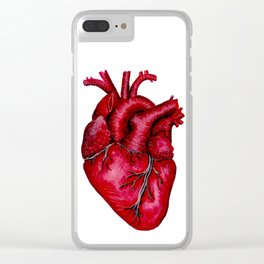 Anatomical Heart Painting Red Clear iPhone Case