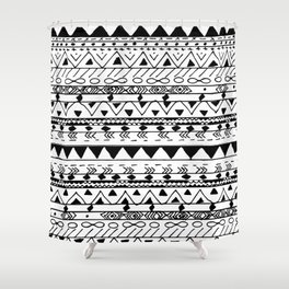 Hand painted black white watercolor aztec pattern Shower Curtain