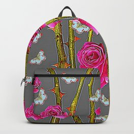 WHITE BUTTERFLIES & PINK ROSE THORN CANES  GREY ART Backpack