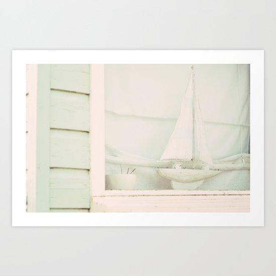 Beach Hut boat ♥ Art Print