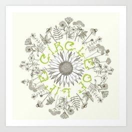 Circle Of Life Mandala With Hand Drawn Flowers Art Print