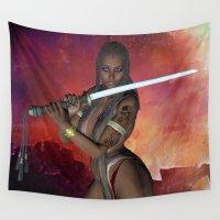 sword Wall Tapestries featuring Samurai Warrior sword girl by Brian Raggatt
