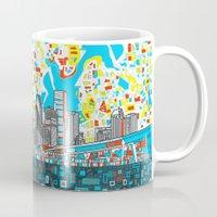 houston Mugs featuring houston city skyline by Bekim ART
