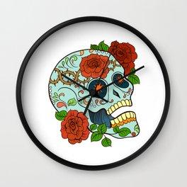 Blue Sugar Skull Wall Clock