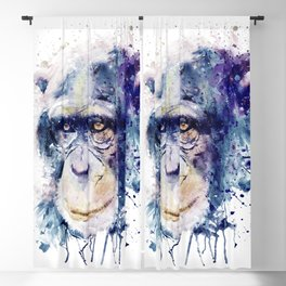 Watercolor Chimpanzee Blackout Curtain