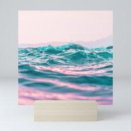 blue waves ocean Mini Art Print