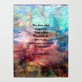 Challenging Fear Rumi Uplifting Quote With Beautiful Underwater Painting Poster