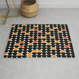 MidPacs - Mid Century Modern Geometric Abstract Circle Pattern- Black Orange Red Rug