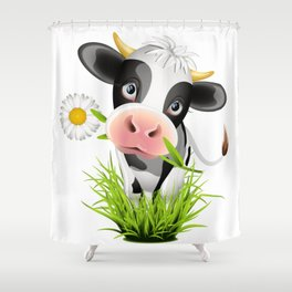 Cute Holstein cow in grass Shower Curtain
