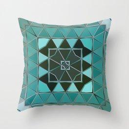 blue green shape Throw Pillow