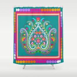 folk turquoise damask Shower Curtain