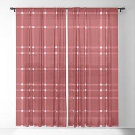 Red Vermilion White Sheer Curtain