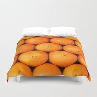 casablanca Duvet Covers featuring Oranges by Barbo's Art