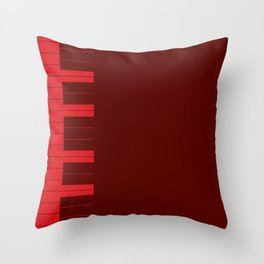 Red Piano Keys Throw Pillow