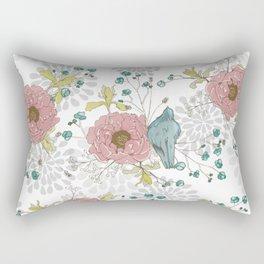 Blue Bird and Peonies Rectangular Pillow
