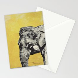 Elephant on yellow Stationery Cards