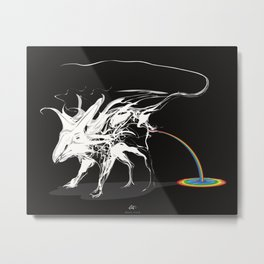 Rat and rainbow. White on dark on background - (Red eyes series) Metal Print