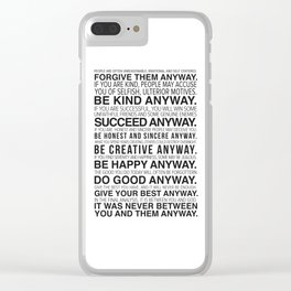Forgiveness Manifesto Clear iPhone Case