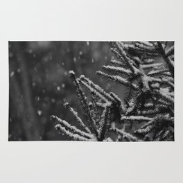 The Evergreen with Snow (Black and White) Rug