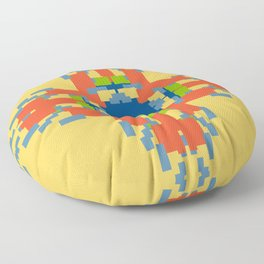 Sunny Geometric Flame Flower Floor Pillow
