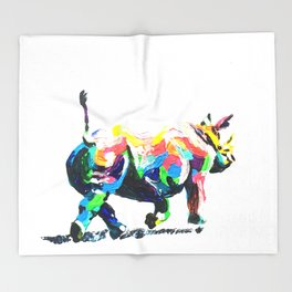 Rainbow Rhino Throw Blanket