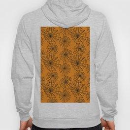 Black orange hand painted halloween spider web pattern Hoody