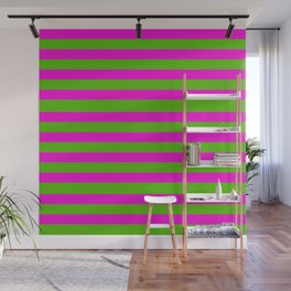 Hot Pink And Kelly Green Stripes Wall Mural