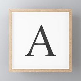 Letter A Initial Monogram Black and White Framed Mini Art Print