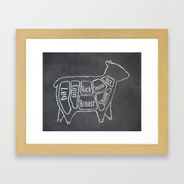 Lamb Butcher Diagram (Sheep Meat Chart) Framed Art Print