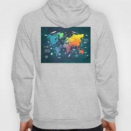 Ocean World Map color #map #worldmap Hoody