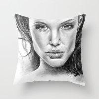 fierce Throw Pillows featuring Fierce by Brianna Bizik