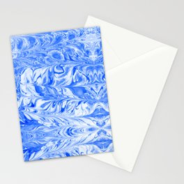 Hashi - indigo blue spilled ink abstract painting modern monochromatic home decor dorm college art Stationery Cards