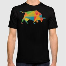 Fractal Geometric Bull MEDIUM Mens Fitted Tee Black