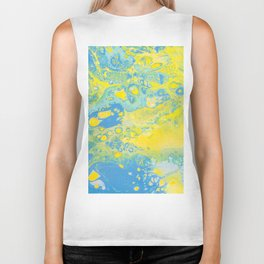Fluid Art Acrylic Painting, Pour 36, Yellow, Green & Blue Blended Color Biker Tank