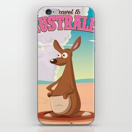 Travel To Australia cartoon kangaroo travel poster iPhone Skin
