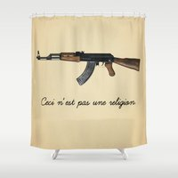 religion Shower Curtains featuring Ceci n'est pas une religion by Spyck