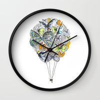 bows Wall Clocks featuring Bows & Butterflies by Romina M.