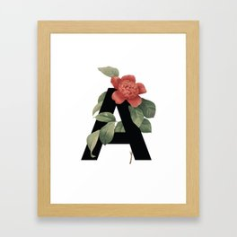 Floral Alphabet Prints: Letter A Framed Art Print