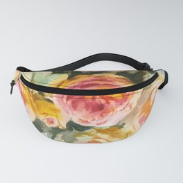 yellow pink rose branch, watercolor sketch from nature Fanny Pack