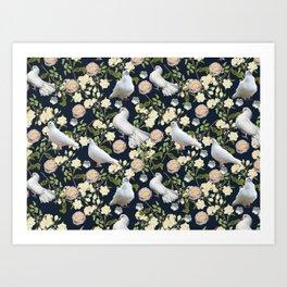 White Doves and Roses Art Print