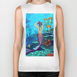 A Fish of a Different Color - Mermaid and seaturtle Biker Tank