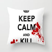 zombies Throw Pillows featuring ZOMBIES by Tania Joy