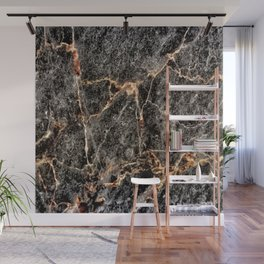 Luxurious Charcoal Black and Rose Gold Vein Marble Wall Mural